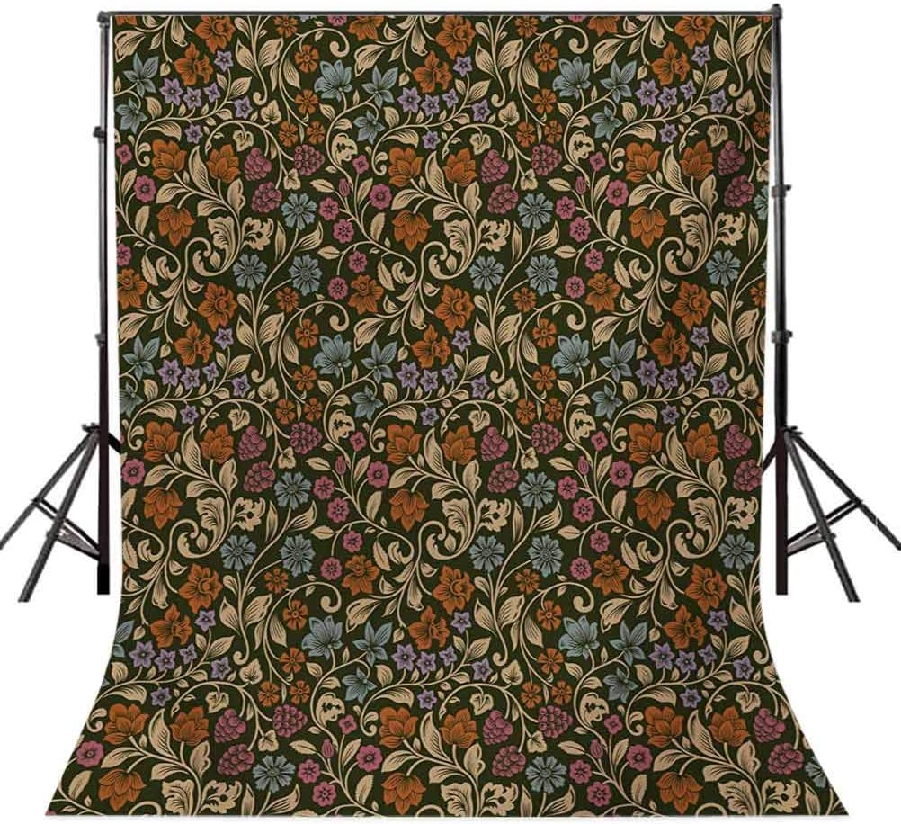 Vintage 10x12 FT Backdrop Photographers,Gardening Plants Wildflowers and Berries Stylized Silhouettes Old Fashioned Display Background for Party Home Decor Outdoorsy Theme Vinyl Shoot Props Multicolo