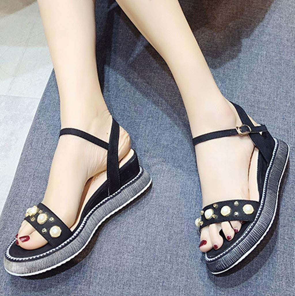 Orangeskycn Women Sandals Summer Wild Platform Bottom Retro Roman Strappy Sandals Pearl Wedge Open Toe Casual Shoes Black by Orangeskycn Women Sandals (Image #2)