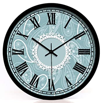 Réveil Quartz Baroque Bleu Bell Silencieux Tableau Horloge Murale ...