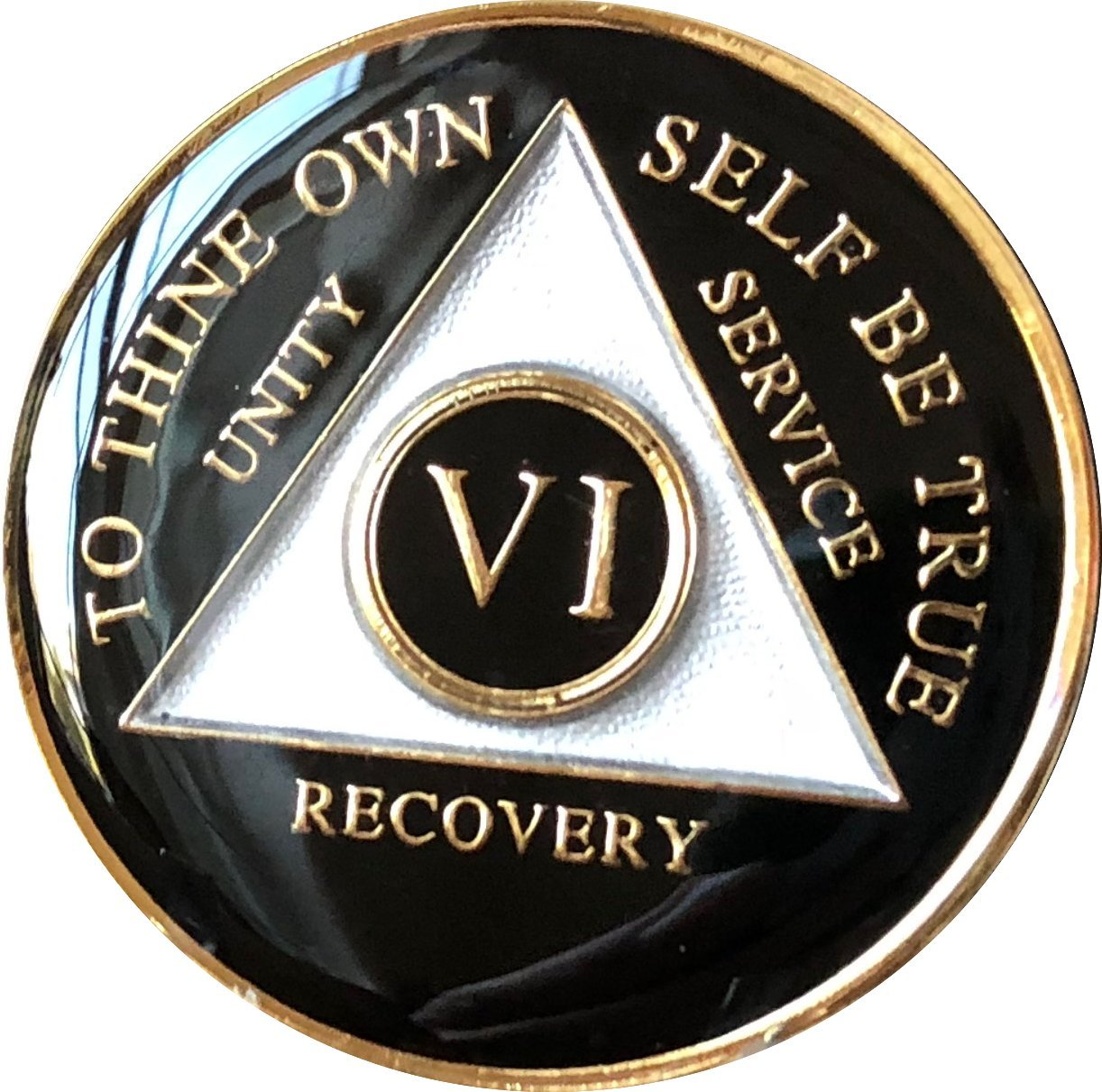 6 Year AA Medallion Glossy Black Tri-Plate Gold Plated Chip VI
