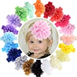 WillingTee 20pcs Baby Girls Headbands Chiffon Flower Lace Band Hair Accessories for Baby Girls Newborns Infants Toddlers