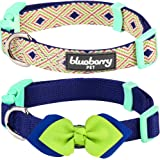 Blueberry Pet 4 Patterns Pack of 2 Mix and Match Adjustable Dog Collars with Detachable Floral or Bowtie