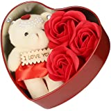WebelKart Unique Valentine Day Gift for Wife, Special Valentine's Day Gift for Lover, Valentine's Day Gift for Lover, Valentine Day Gift for Wife (Heart Shaped Box with Teddy and Roses)