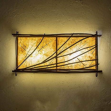 Apliques de Pared Vintage Lámpara de pared de Madera Creativa ...