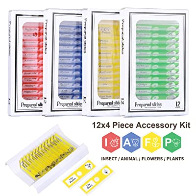 hothuimin Kids Microscope Slides 48pcs Kids Plastic Prepared Microscope Slides of Animals Insects Plants Flowers Sample Specimens for Stereo Microscopes and Student Science Education: Toys & Games