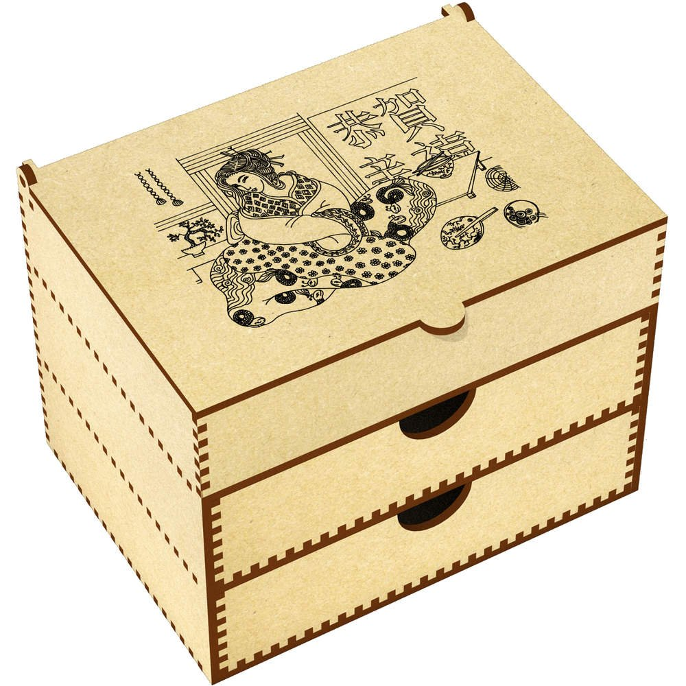 Azeeda 'Geisha Motif' Vanity Case / Makeup Box (VC00008223)