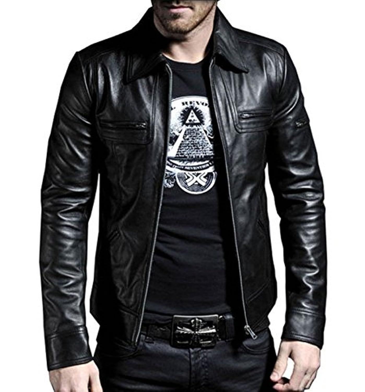 FarihaLeather Leather Men's Lambskin Leather Bomber Biker Jacket