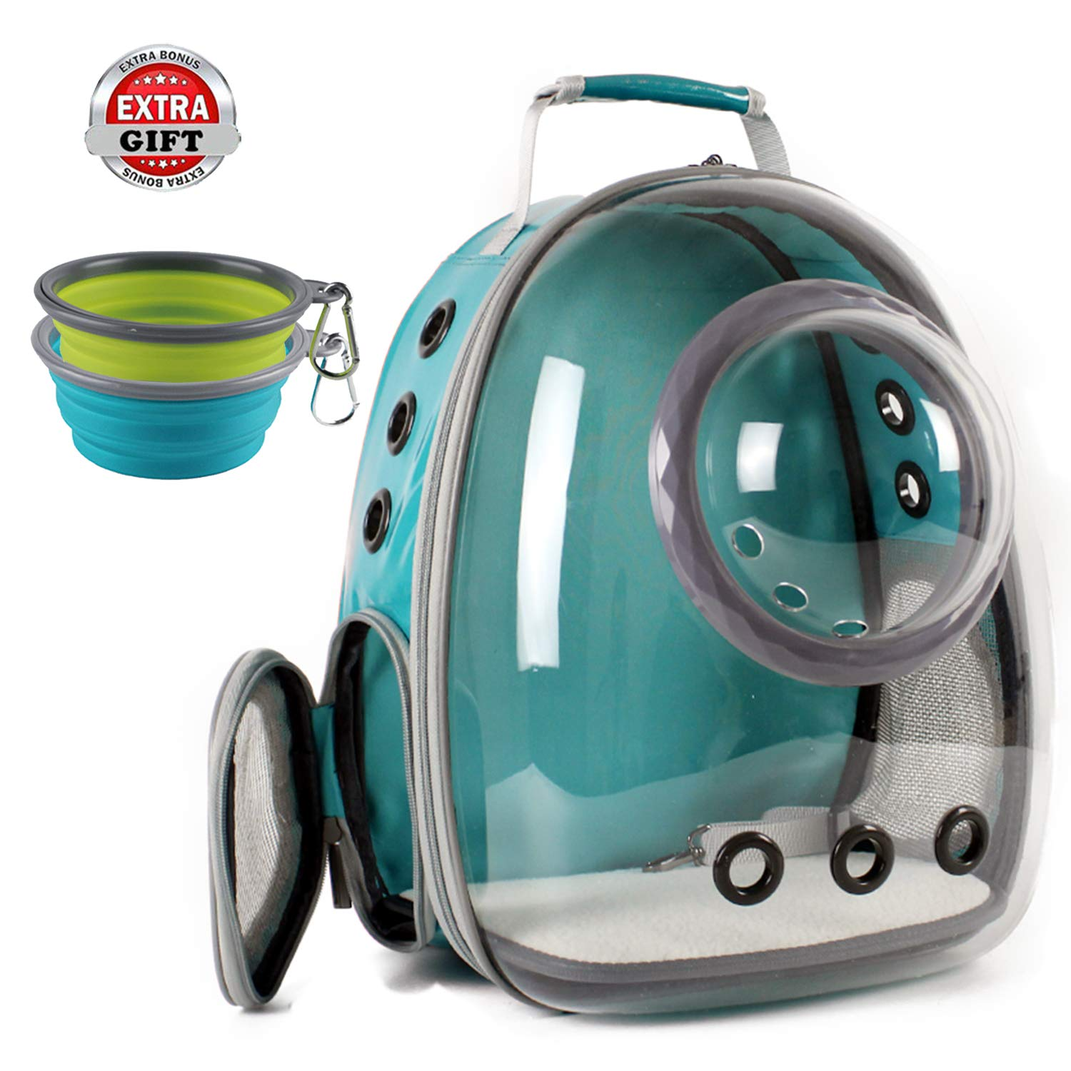 Hcupet Space Capsule Bubble Cat Backpack, Airline Approved Transparent Bubble Dome Waterproof Carrying & Holding Outdoor Traveling Backpack - Green