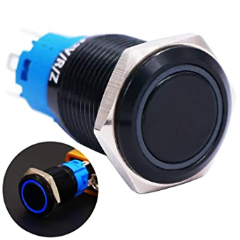 19mm Waterproof Stainless Steel Metal Shell Momentary Raised Top Push Button Switch 3A//12~250V SPST 1NO Start Button for car Modification Switch(Quality Assurance for 1 Years) M-19-T-G Twidec