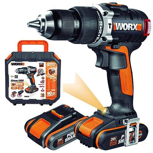 WORX WX373 Taladro percutor con 2 baterías de 2.0 Ah y cargador, sin escobillas, 2000 W, 20 V, Negro