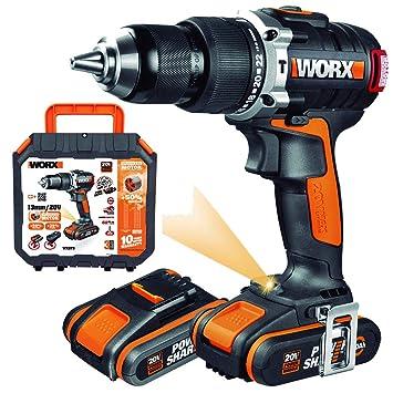 WORX WX373 Taladro percutor con 2 baterías de 2.0 Ah y ...