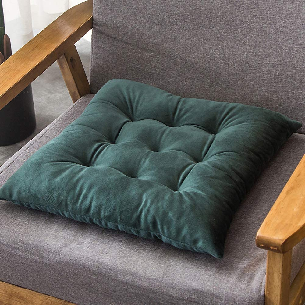 Square Tatami Chair Cushion with Ties,Velvet Chair Cushion Seat Pad,Reversible Futon Seat Cushion,Home Office Tufted Chair Cushion Dark Green 16x16inch