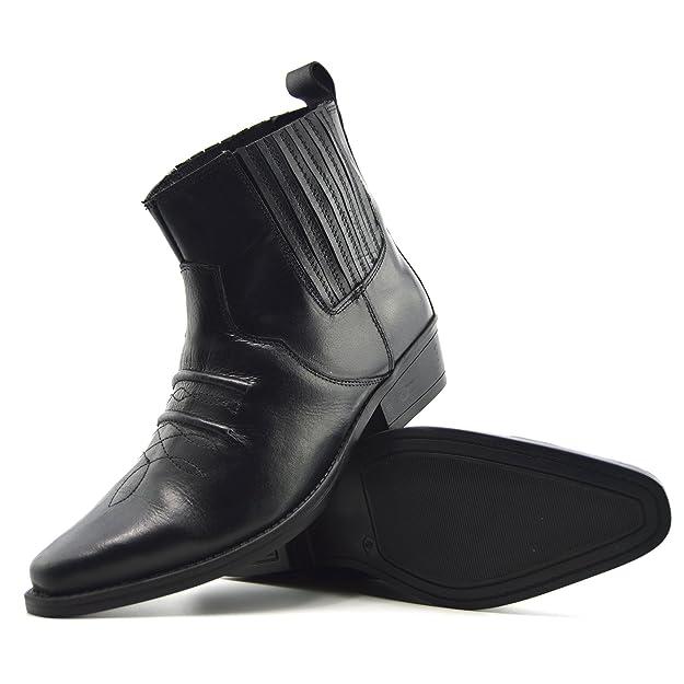 Kick Footwear - Uomo Mens Cowboy In Pelle Stivaletti Biker Boots Stivali da cowboy - UK 11 / EU 45, Nero