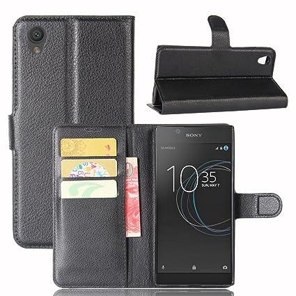 Guran® Funda de Cuero PU Para Sony Xperia L1 Smartphone Función de Soporte con Ranura para Tarjetas Flip Case Cover Caso-negro