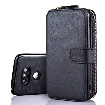 free shipping 2dd27 07f0b LG G5 case, Feitenn Zipper Handle Detachable wallet case Flip Pu leather  case with 10 Card Holders Removable Magnetic Case Purse Clutch Handbag LG  G5 ...
