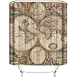 Ambesonne nyc decor collection new york old map from the end of 19th century - Old world map shower curtain ...