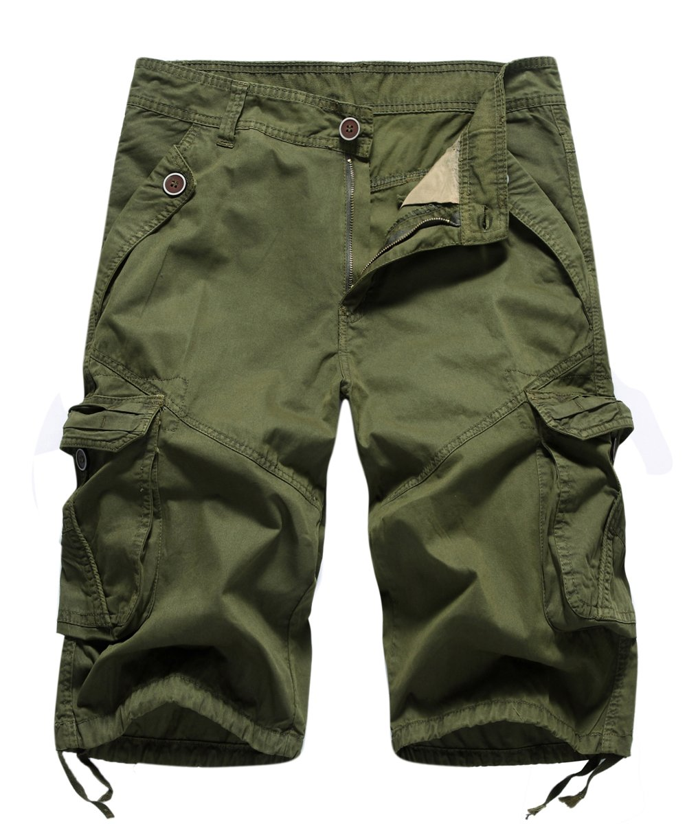 FOURSTEEDS Women's Casual Loose Fit Multi-Pockets Camouflage Twill Bermuda Cargo Shorts Army Green US 12