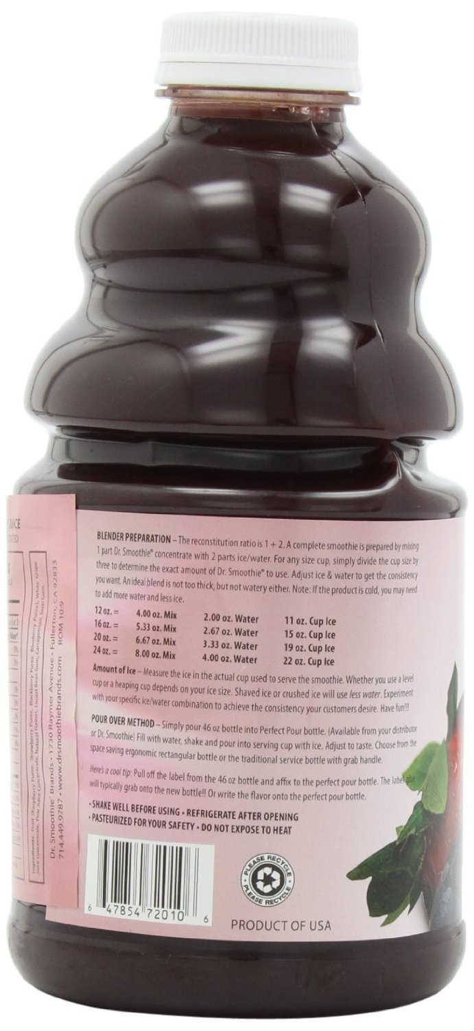 Dr. Smoothie Four Berry 100% Crushed Fruit Smoothie Concentrate 46oz. 6 pack