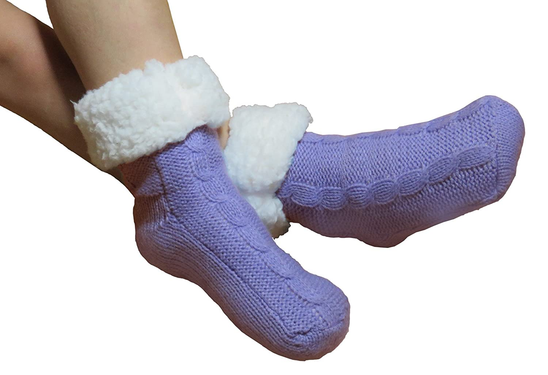 Calcetines para estar por casa para niños, con relleno de peluche, suela antideslizante ABS, supersuaves, unisex, 1 par, microfibra, Schlittschuh Blau, ...