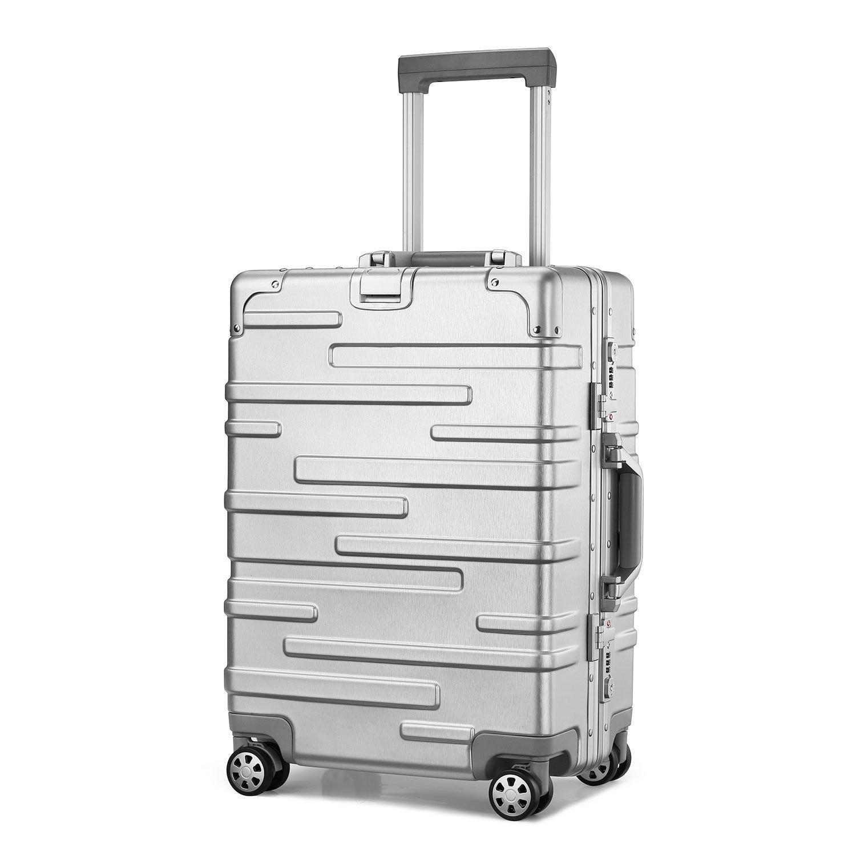 (アスボーグ)ASVOGUE スーツケース キャリーケース TSAロック 半鏡面仕上げ アライン加工 アルミフレーム レトロ 旅行 出張 軽量 静音 ファスナーレス 機内持込可 保護カバー付き B07BJYPYK9 L|モダン-シルバー モダン-シルバー L