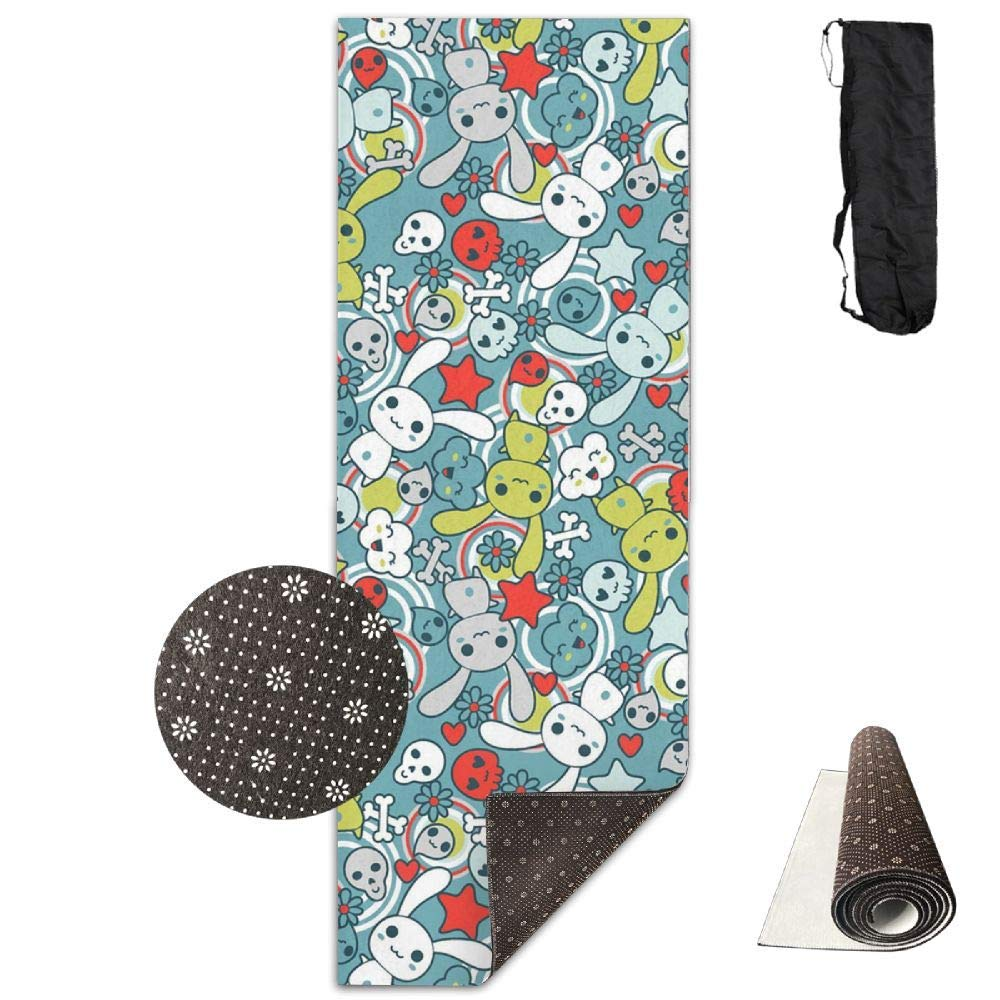 70Inch Long 28Inch Wide Comfort Velvet Yoga Mat, colorful White Rabbit and Skull Mat Carrying Strap & Bag