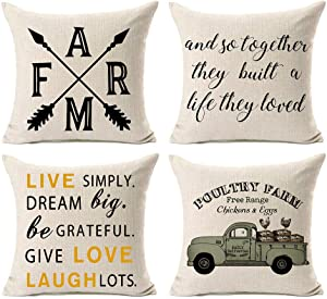 Kithomer Set of 4 Rustic Farm Fresh Eggs Pillow Covers Farmhouse Decorative Farmhouse Quote Gift Throw Pillow Cases 18 x 18 Inch Country Style Home Decoration
