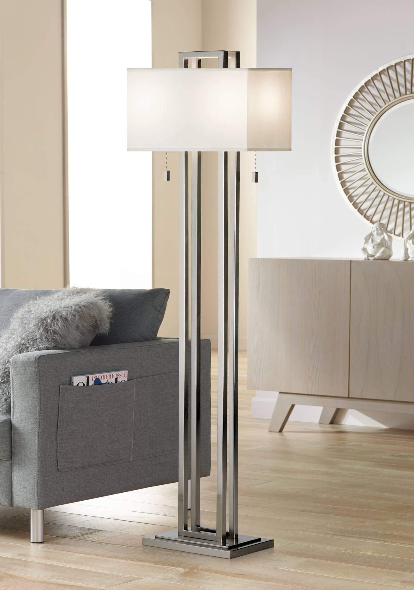 Modern Floor Lamp Brushed Nickel Openwork Rectangular Profile Off White Fabric Shade for Living Room Reading - Possini Euro Design