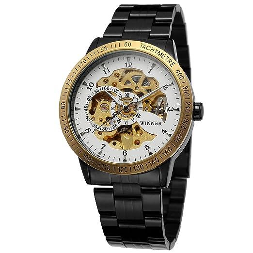 Forsining Hombres de moda funda automático esqueleto reloj de pulsera con banda de acero inoxidable wrg8031 m4t5: Amazon.es: Relojes