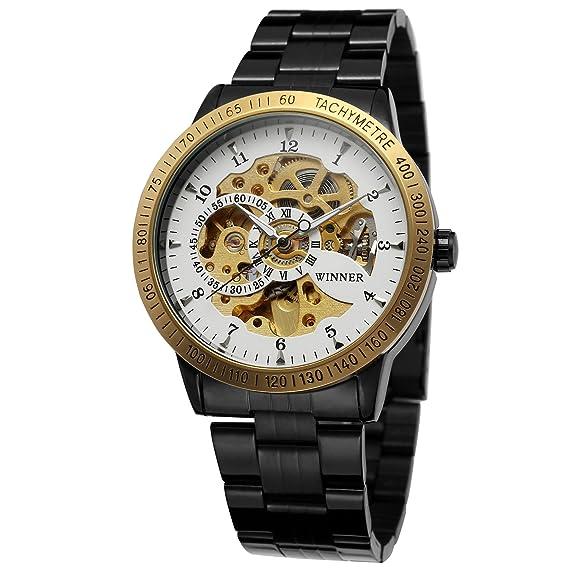 Forsining Hombres de moda funda automático esqueleto reloj de pulsera con banda de acero inoxidable wrg8031