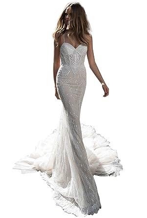 87b628a7e3135 Dressvip 2018 Glamour et Chic Robe de Mariée pour Mariage Longue Sirène  sans Manche avec Traîne