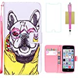 iPhone 5C Case,iPhone 5C Wallet Case,5C Case,CASELAND Flip Cover Wallet PU Leather with Stand + Lanyard Case for iPhone 5C - Dog