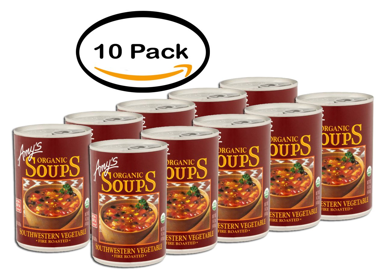 PACK OF 10 - Amy's Organic Soups Southwestern Vegetable Fire Roasted, 14.3 OZ