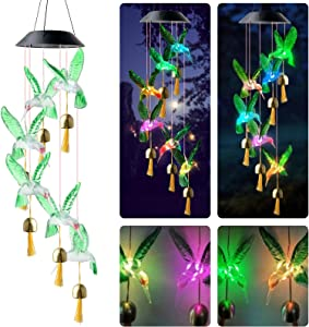 ZHYCLKE Waterproof Solar Hummingbird Butterfly Wind Chime Color Changing LED with Bell Mobile Outdoor Hanging Decoration Romantic Patio Lights for Christmas Garden Home