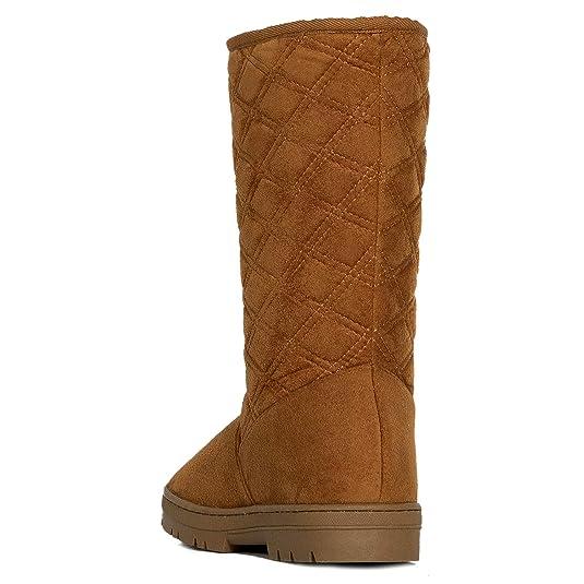 e0cb2d5a275 Amazon.com  RF ROOM OF FASHION Women s Vegan Shearling Fur Lined Hidden  Pocket Mid-Calf Snow Winter Boots  Shoes