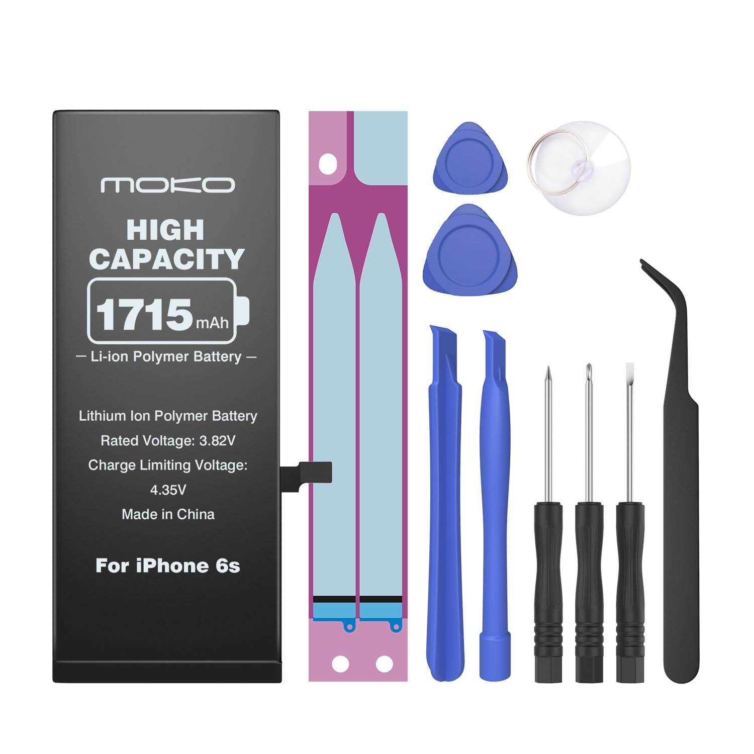 Moko Battery for iPhone 6S Replacement, 3.82V 1715mAh Brand New 0-Cycle Li-ion Battery Repair Kit with Tools and Instructions, for iPhone 6S [A1633/A1688] 4.7 inch - Black