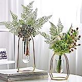 MARATTI - Jarrón de flores con marco de hierro, diseño geométrico de metal, jarrón transparente decorativo para el hogar…