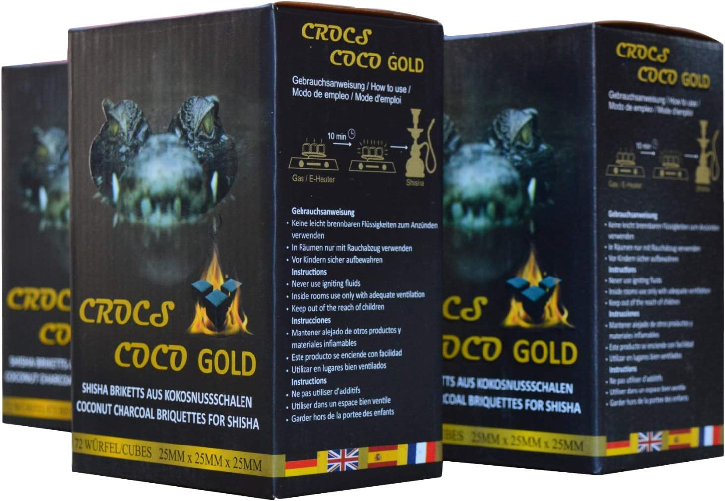 Cross Coco Gold I carbón para shisha I carbón de coco con larga duración I pocas cenizas I baja generación de humo I carbón natural sostenible I Cubo de shisha con calidad premium I 3 kg
