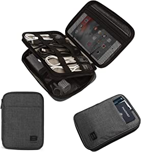 """BAGSMART Electronic Organizer, Travel Cable Organizer Double Layer Electronics Accessories Cases Portable for Tablet 7.9"""", USB Drive, Cords, Black"""