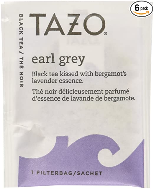 Tazo Earl Grey Black Tea, 20-Count Tea Bags (Pack of 6)
