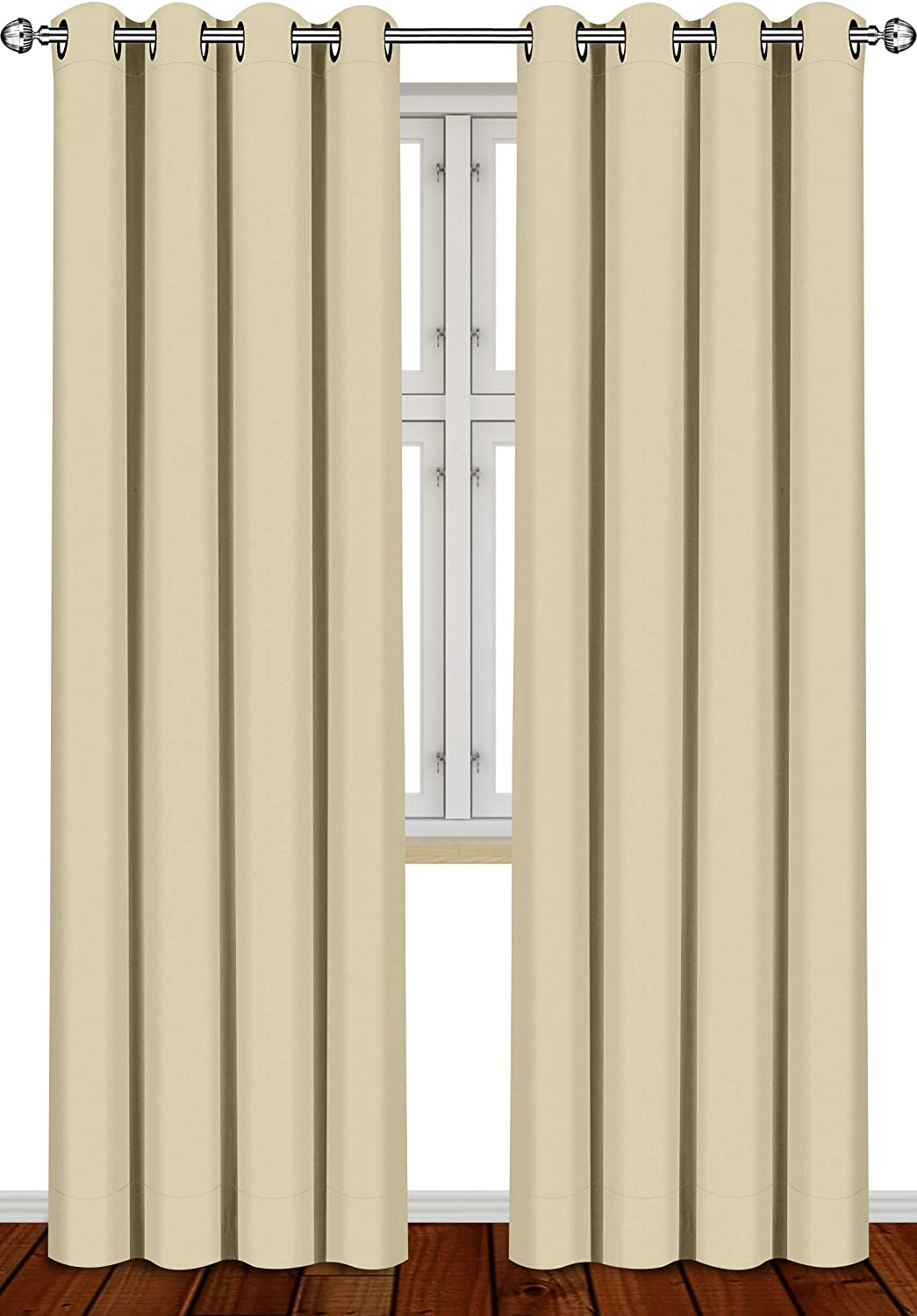 Utopia Bedding 2 Panels Eyelet Blackout Curtains Thermal Insulated for Bedroom, W55 x L96 Inches, Beige