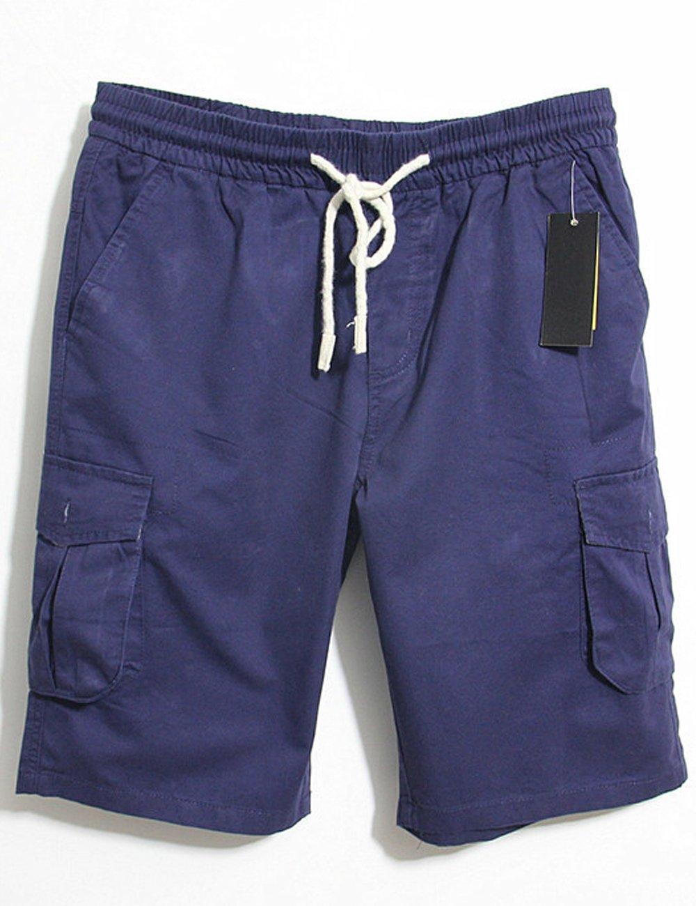Men's 100% Cotton Summer Casual Cargo Shorts with Elastic Waist Drawstring (Waist 37,Navy)