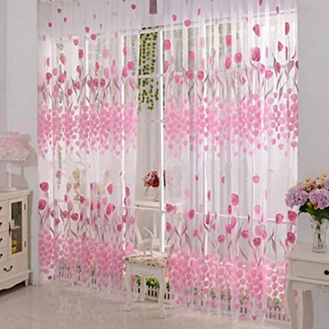 Amazon.com: Floral Voile Tulle Window Door Curtain Pink Flowers ...