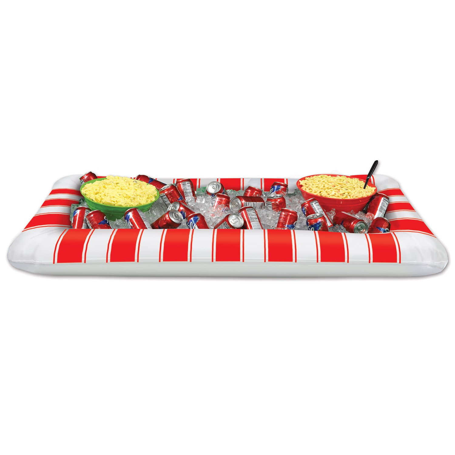 Beistle Inflatable Red and White Stripes Buffet Cooler, 28-Inch Width x 4' 5¾-Inch Length 54622