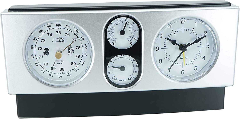 Modern Design 4 in 1 Quartz Desk Shelf Office Clock with Thermometer Barometer and Hygrometer Weather Station