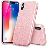 """iPhone X Case, ESR Glitter Sparkle Bling Case [Three Layer] for Girls Women [Supports Wireless Charging] for Apple 5.8"""" iPhone X /iPhone 10 (2017 Release)(Rose Gold)"""