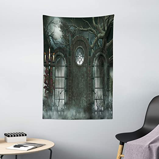 Amazon Com Horror House Decor Tapestry By Ambesonne Moon Halloween Ancient Historical Gate Gothic Background Candles Fiction View Wall Hanging For Bedroom Living Room Dorm 40 X 60 Inches Hunter Green Home
