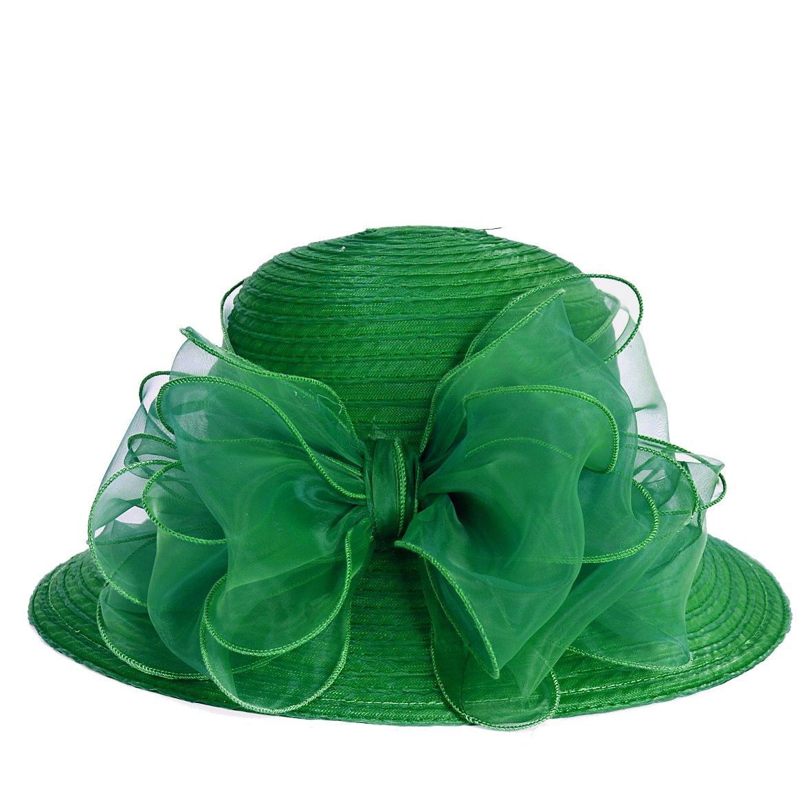 VECRY Lady Derby Dress Church Cloche Hat Bow Bucket Wedding Bowler Hats (Green, Medium) by VECRY (Image #2)