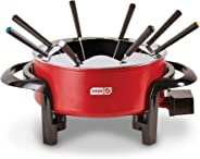 Dash DFM100GBRD04 Electric Fondue Set with Nonstick Pot, 8 Colored Forks & Temperature Control for Cheese, Chocolate, Steak,