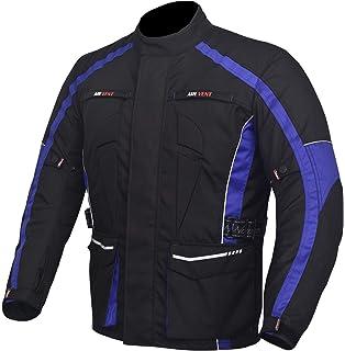 NORMAN Mens Motorcycle Motorbike Jacket Waterproof Textile CE Armoured Reflectors Black//Blue