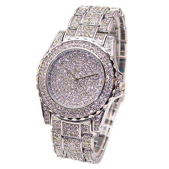 cheers-online mujeres Rhinestone reloj de pulsera reloj de pulsera de cuarzo de banda de acero inoxidable, color plateado: Amazon.es: Relojes